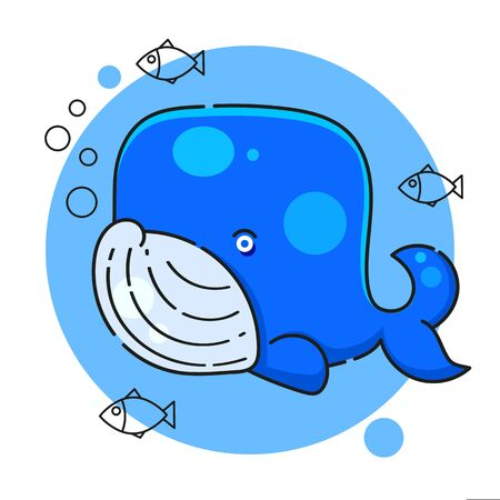Blue whale-hand drawn paint for your needs Ilustracja
