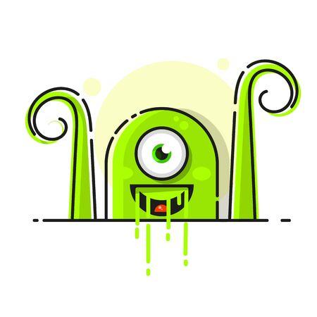Green Microbe, Bacteria Icon Isolated On White Background Ilustracja