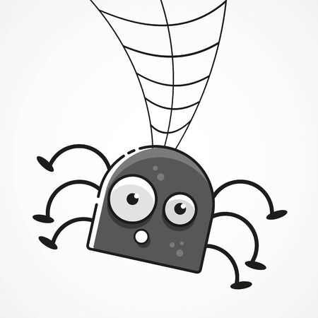 Cute Spider And Webs Over Gray Background Vector Illustration