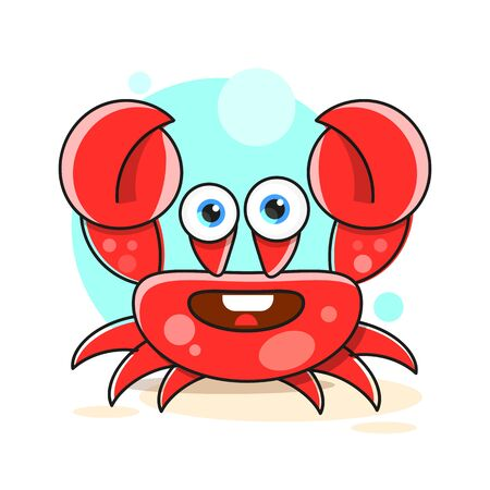 Stylish crab on the beach vector illustration on white background  イラスト・ベクター素材