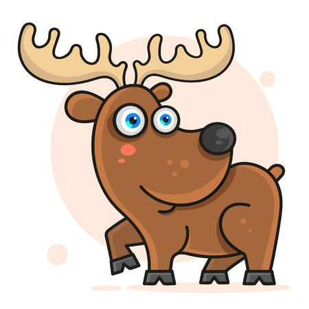 Cheerful Deer Vector Illustration For Your Design And Needs. Ilustracja