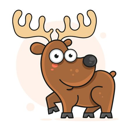 Cheerful Deer Vector Illustration For Your Design And Needs. 일러스트