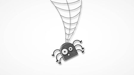 Isolated Spooky Spider Web In A Fun Way Vector Illustration