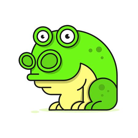 Funny Green Frog Cartoon Sitting Vector Illustration On White Background