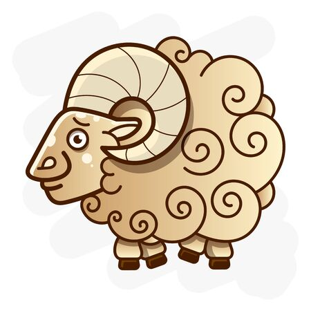 Ram With Curved Horns Vector Illustration For Your Web Design