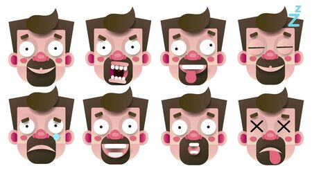 Set Of Emoticons With Different Emotions Paper Style Isolated On White Background Vector Illustration For Web Design 일러스트