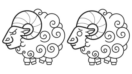 Cartoon Sheep. Vector Illustration Coloring Book For Kids And Adults Illustration