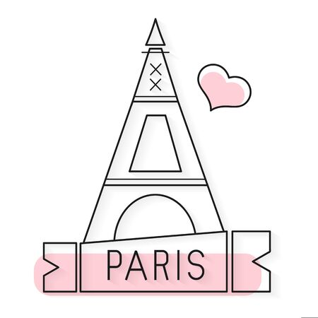 Tower Eiffel with Paris lettering. Vector illustration Bright Illustration Suitable For Greeting Card, Poster Or T-shirt Printing. Illustration