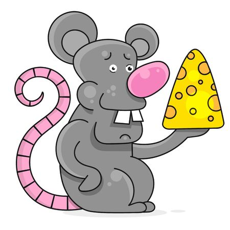 Funny And Cute Mouse Standing And Holding Cheese-vector. White Mouse. Chinese New Year Illustration