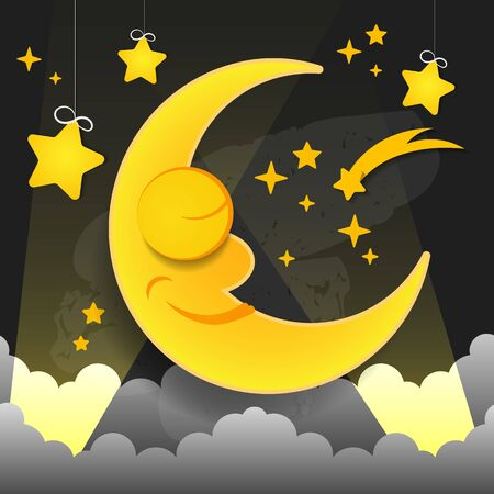 Vector Illustration Of Sleeping Smiling Moon In The Nightcap Vector Suitable For Greeting Card, Poster Or T-shirt Printing.