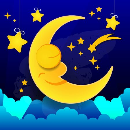 Vector Illustration Of Sleeping Smiling Moon In The Nightcap Vector Suitable For Greeting Card, Poster Or T-shirt Printing. Illustration