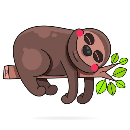Cute Hand Drawn Sloths, Vector Illustration. Suitable For Greeting Card, Poster Or T-shirt Printing.