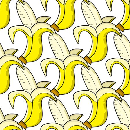 Vector Seamless Banana Pattern. Vector Illustration. Suitable For Greeting Card, Poster Or T-shirt Printing. Illustration