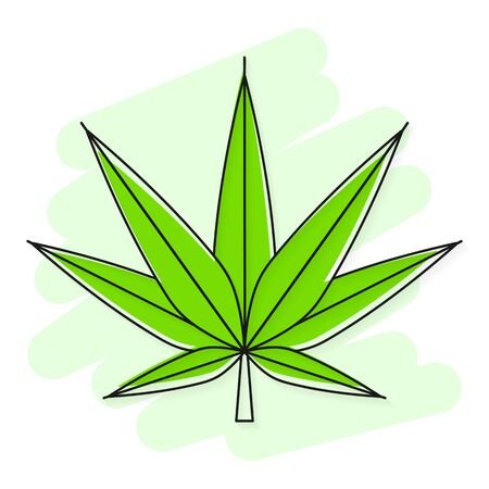 Green Cannabis marijuana Hemp Leaf Flat Vector Icon For Apps And Websites Suitable For Greeting Card, Poster Or T-shirt Printing. Illustration