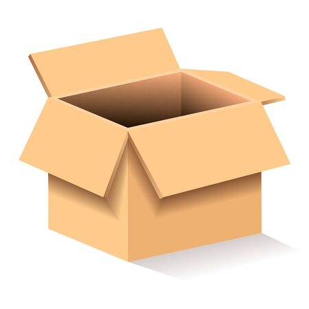 Kartonnen doos vectorillustraties geschikt voor het afdrukken van wenskaarten, posters of T-shirts. Vector Illustratie