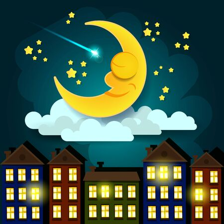 Good Night Vector Illustration. Suitable For Greeting Card, Poster Or T-shirt Printing.