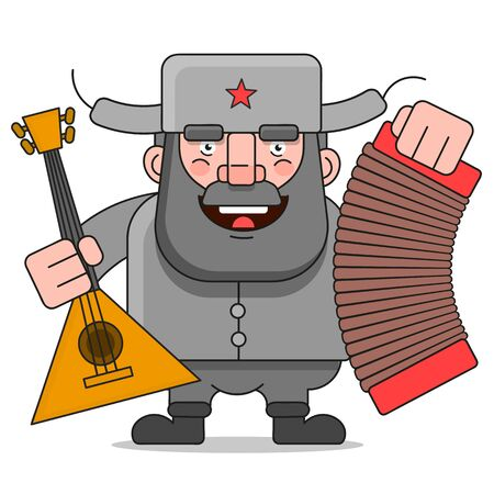 Russian Man Vector Illustration Suitable For Greeting Card, Poster Or T-shirt Printing.