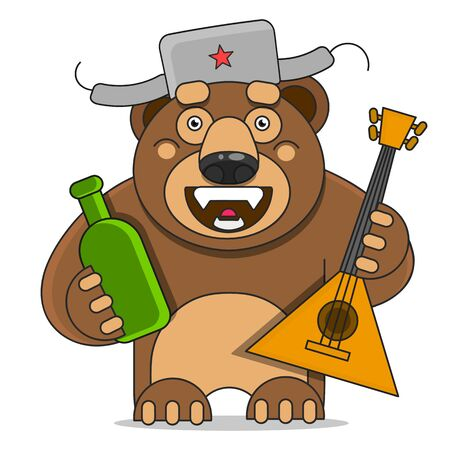 Russian Bear Vector Illustration Suitable For Greeting Card, Poster Or T-shirt Printing.