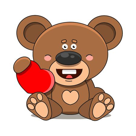 Bear With A Heart. On White Background Suitable For Greeting Card, Poster Or T-shirt Printing.