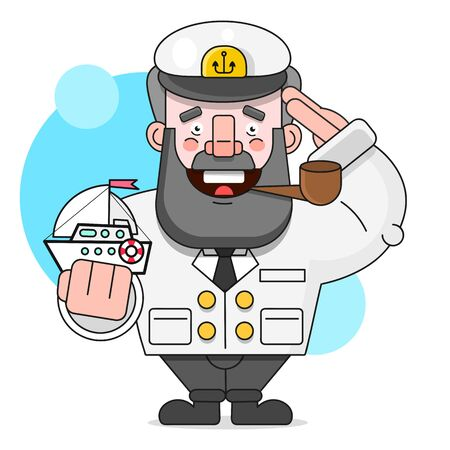Captain With A Pipe And A Ship. Vector Illustration Isolated On White Background Suitable For Greeting Card, Poster Or T-shirt Printing.