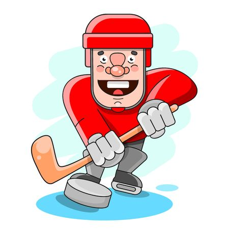 Boy Playing In Ice Hockey On White Background Suitable For Greeting Card, Poster Or T-shirt Printing. Stock Illustratie