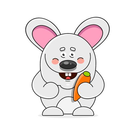 Cartoon Happy Rabbit Holding Carrot Isolated On White Background Suitable For Greeting Card, Poster Or T-shirt Printing. Çizim