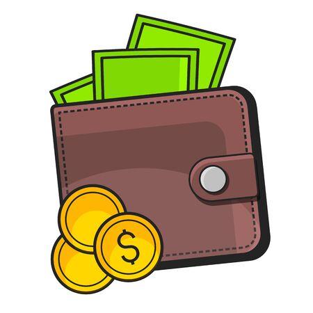 Portefeuille avec icône Dollars sur fond blanc adapté à l'impression de cartes de voeux, d'affiches ou de T-shirts. Vecteurs