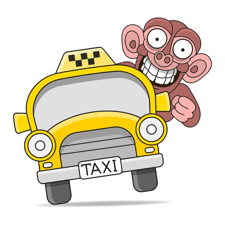 Taxi Car. Vector Flat Illustration On White Background. Hand Drawn Design Element For Label And Poster