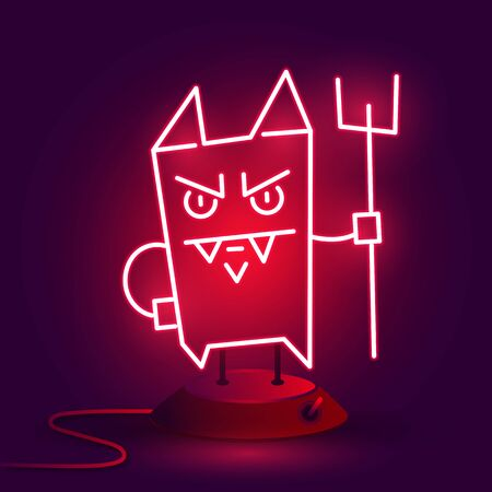 Crazy Cartoon Devil. Vector Illustration On A Brick Background Of A Neon Icon.