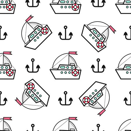 Seamless Pattern With Ships And Anchor Hand Drawn Design Element For Label And Poster 向量圖像