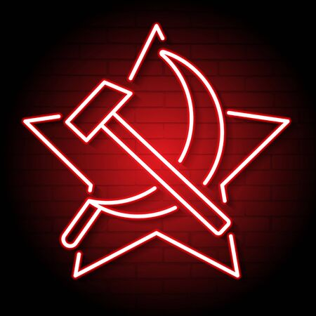 The Neon Hammer And Sickle Symbol In Red Color. Soviet Union. Vector Illustration