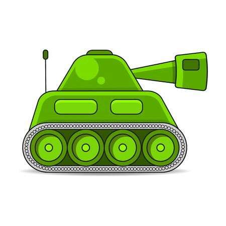 Vector Illustration Of A Battle Tank Aiming A Gun Towards Military Equipment, War, Weapons, For Greeting Card, Poster Or T-shirt Printing.