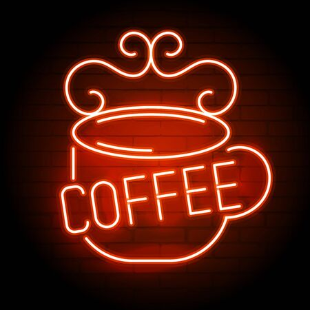 Neon Coffee Mug On A Brick Wall . Sign For Cafes, Restaurants, Bars, Pubs.