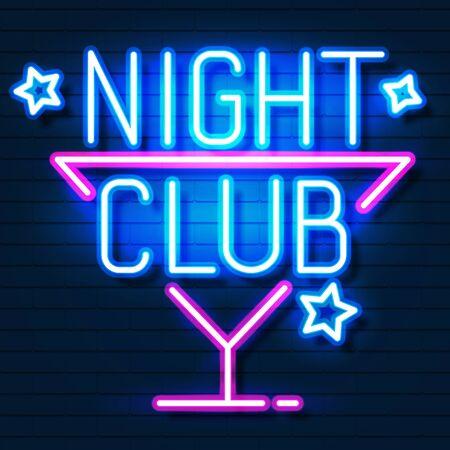 Club nocturno . Letrero de neón de la ciudad. Emblema. Banner de luz de letrero brillante