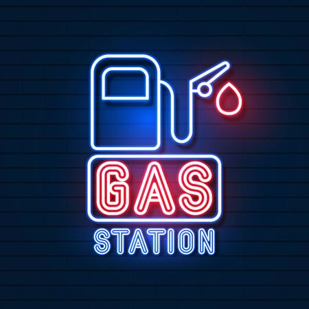 Gas Station Neon Sign On Brick Background Vector Illustration
