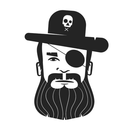 Pirate Head Of A One-eyed Pirate With A Beard And Mustache On A White Background. For Posters, Posters, And Postcards. 向量圖像