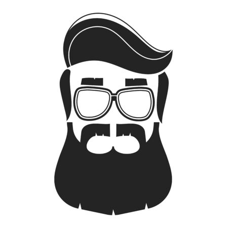 Vue vectorielle du profil d'un homme barbu pour un salon de coiffure, une affiche, une affiche et un modèle.