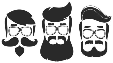 Hipster Hair And Beards With Sunglasses Set. Fashion Bearded Man Faces. Beard Isolated On White Background. Hipsters With Different Haircuts, Mustaches, Beards. Ilustración de vector