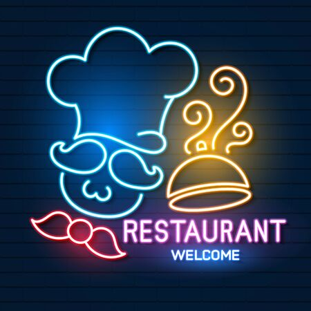 Restaurant Sign, Emblem In Neon Style. A Nightly Bright Banner. Glowing Neon Night Advertisement Of A Restaurant, Cafe Snack Bar And Other Institutions. Vector Illustration
