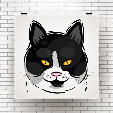 Grunge Background With A Stylized Cat Face Theme. Vector Illustration Suitable For Greeting Card, Poster Or T-shirt Printing.