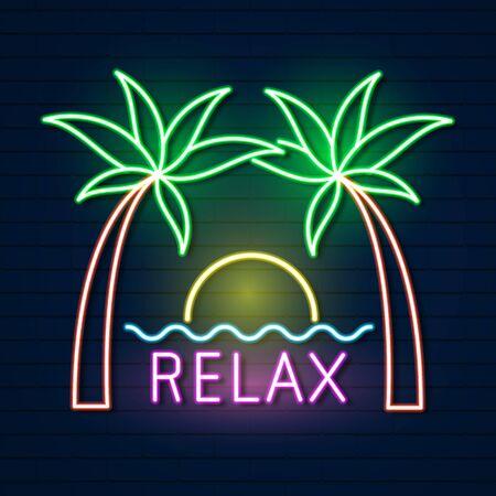 Summer Beach Neon Sign. Neon Sign, Bright Signboard, Light Banner