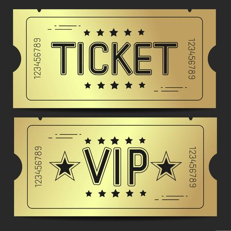 Set Vector Illustration Of A Ticket Icon In A Flat Style. Retro Ticket Stub .