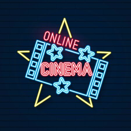 Online Movies Neon Signboard. Led Neon Light Sign Display. Vector