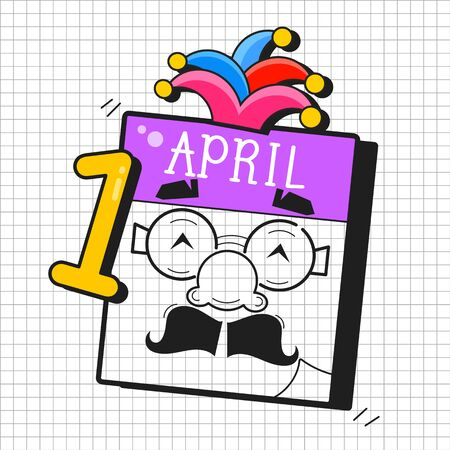 April Fools Day Text And Funny Glasses Vector Illustration For Greeting Card, Ad, Promotion, Poster, Flier, Blog, Article, Marketing, Signage, Email 向量圖像