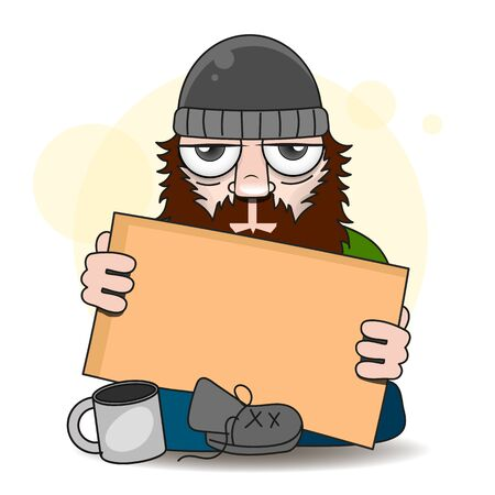 Homeless Vector Illustration Suitable For Greeting Card, Poster Or T-shirt Printing.