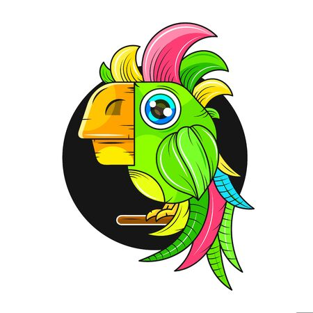 Cartoon Cute Parrot Illustration Suitable For Greeting Card, Poster Or T-shirt Printing.