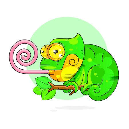 Cartoon Chameleon Vector Illustration Suitable For Greeting Card, Poster Or T-shirt Printing.