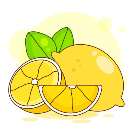 Vector. Fresh Lemons With Leaves . Vector Illustration.