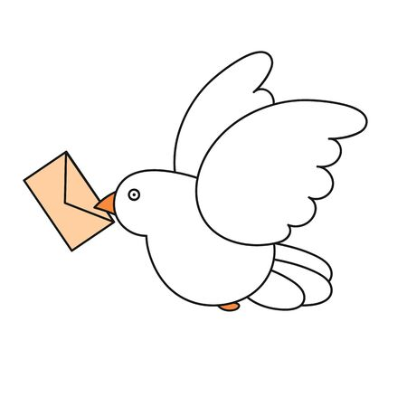 Vector flat style illustration of post pigeon. Icon for web. Isolated on white background.