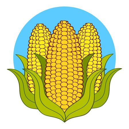 Super Corn Crop-vector  Template. Organic Grain Sign. Icons Of Ecology. Bio similar. A Badge Of Distinction For Agriculture And Nature. Year Of Wheat Illustration In Flat Design Style